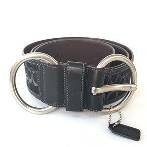 COACH Black Signature C Double Buckle Wide Belt-XL